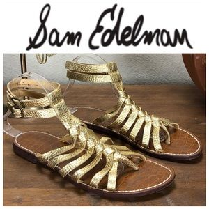 Sam Edelman Gold Leather Ankle Strap Sandals